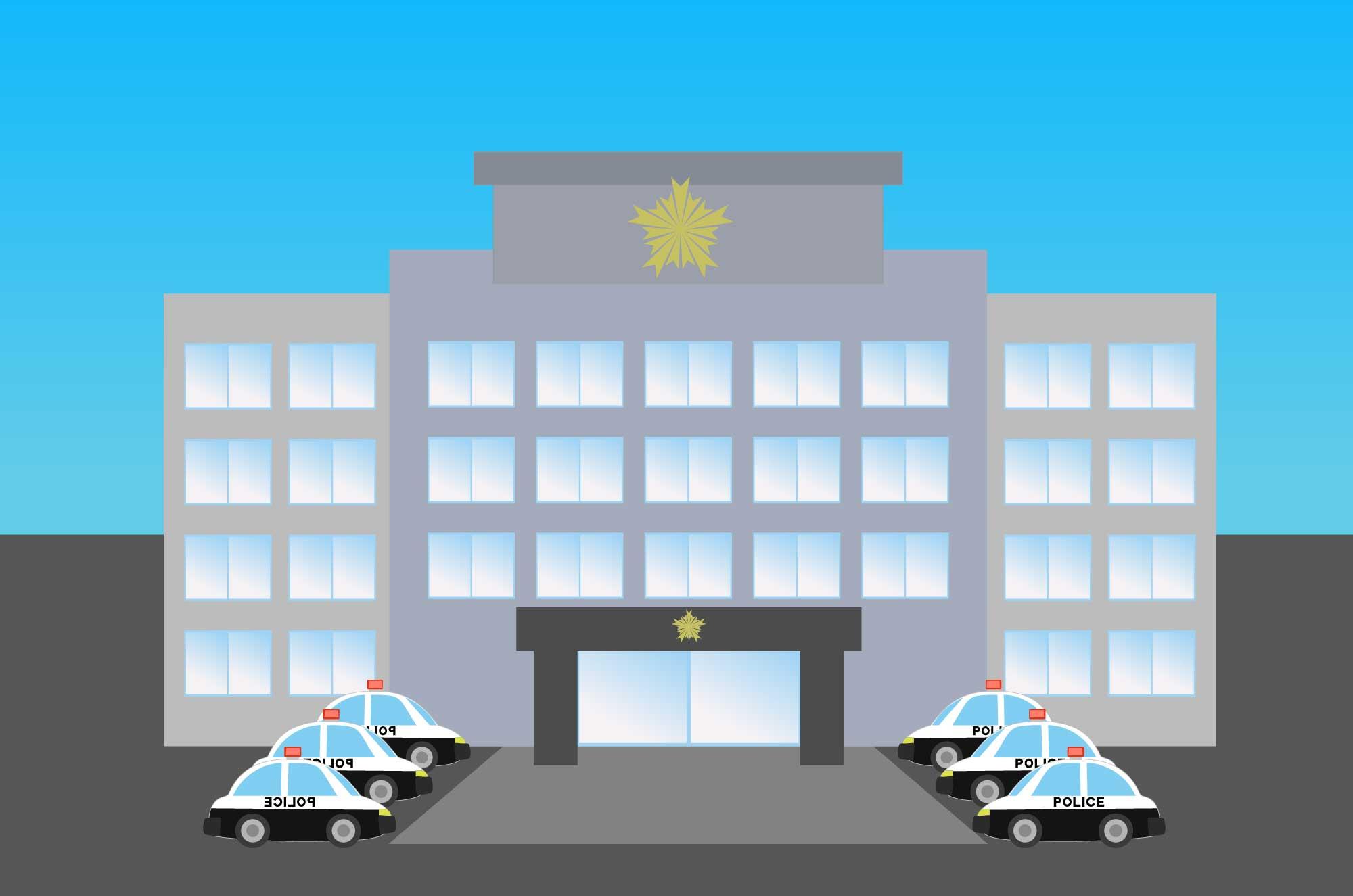 警察署の無料イラスト - 署と交番の建物のフリー素材
