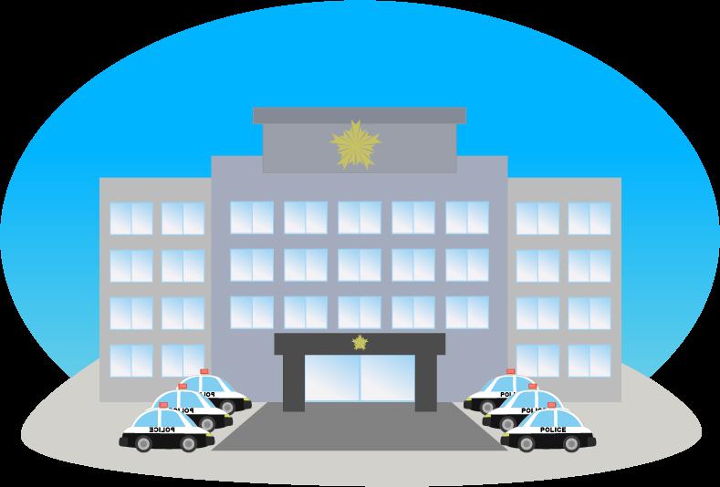 警察署のイラスト(青空背景)