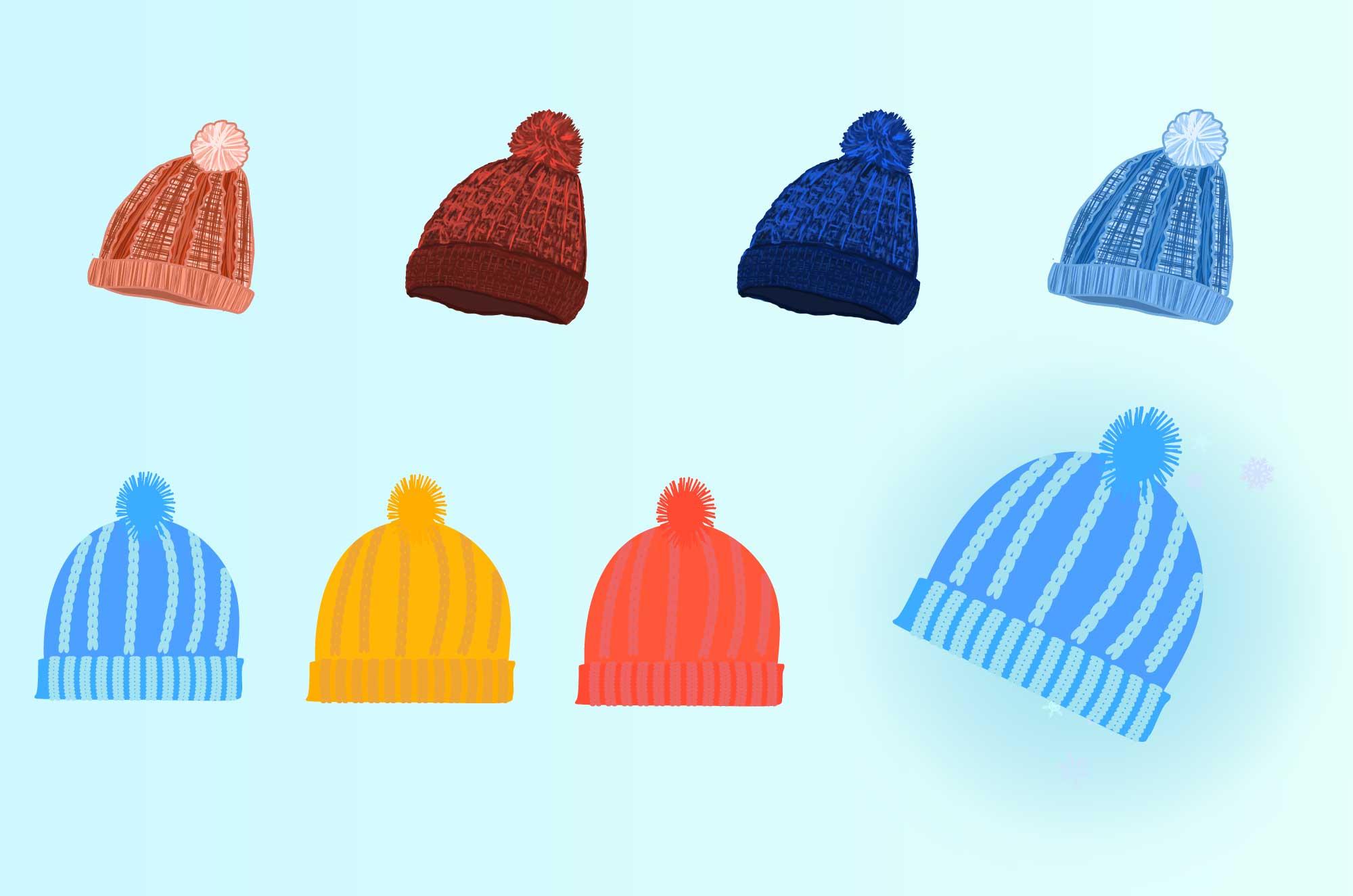 毛糸の帽子のフリーイラスト - 冬・季節の衣服無料素材