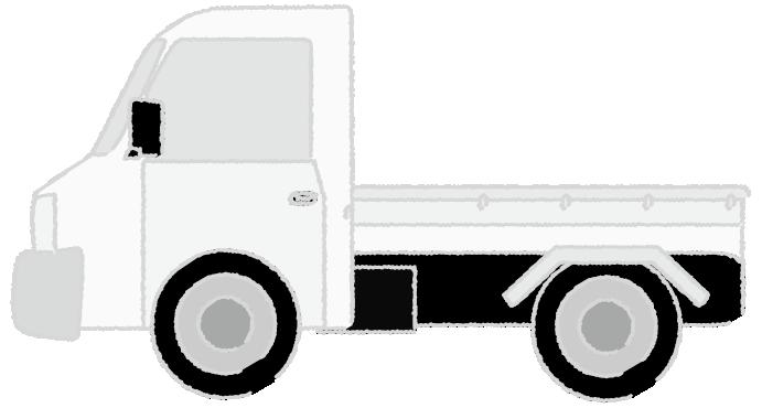 白黒印刷用の軽トラックのイラスト