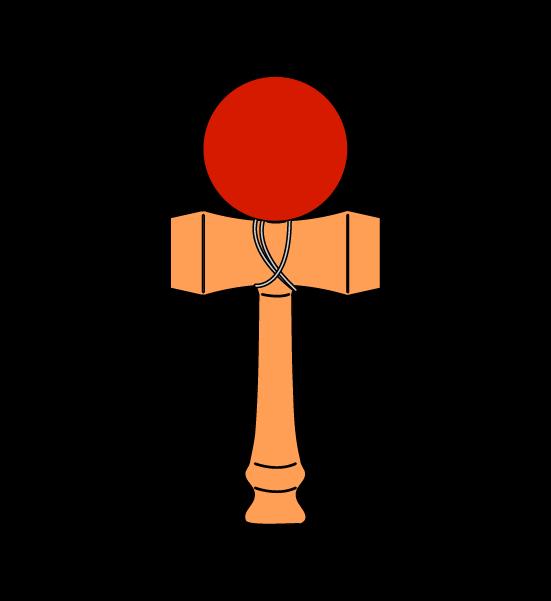 シンプルなけん玉(線あり)のイラスト2