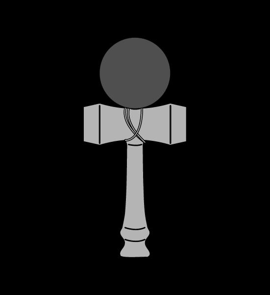 けん玉(白黒)のイラスト