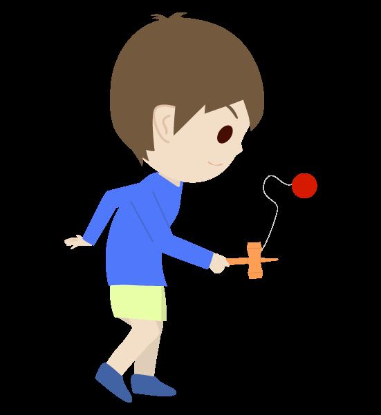 けん玉をする子どものイラスト