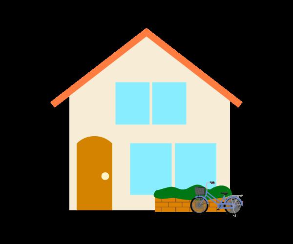 自転車とシンプルな家のイラスト