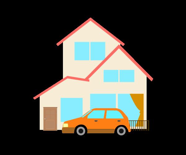 車とシンプルな家のイラスト