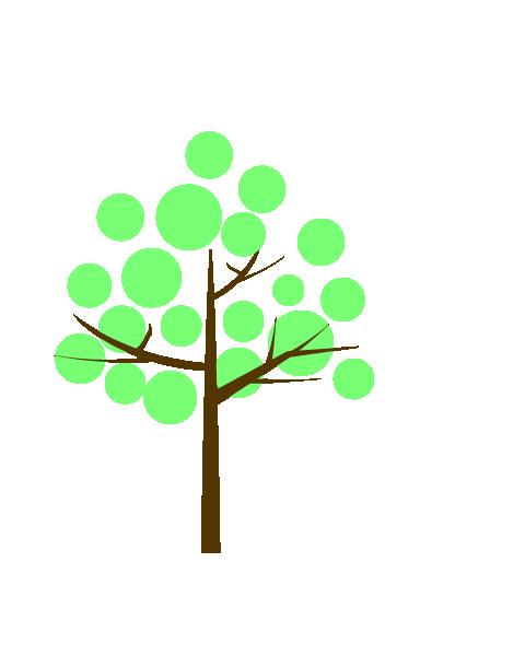 丸い葉の木のイラスト