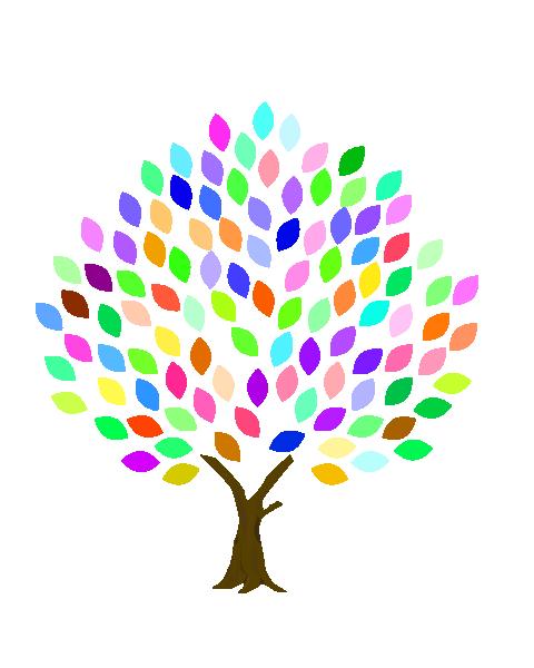 カラフルな葉の木のイラスト