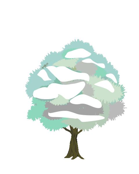雪の積もった木のイラスト