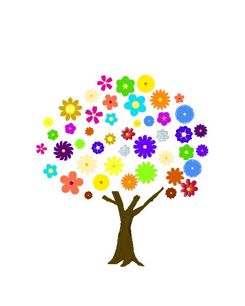 カラフルな花の木のイラスト