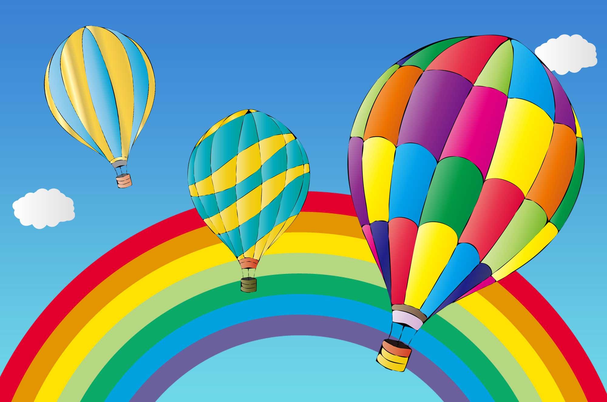 気球イラスト - 可愛い線画とポップな無料素材