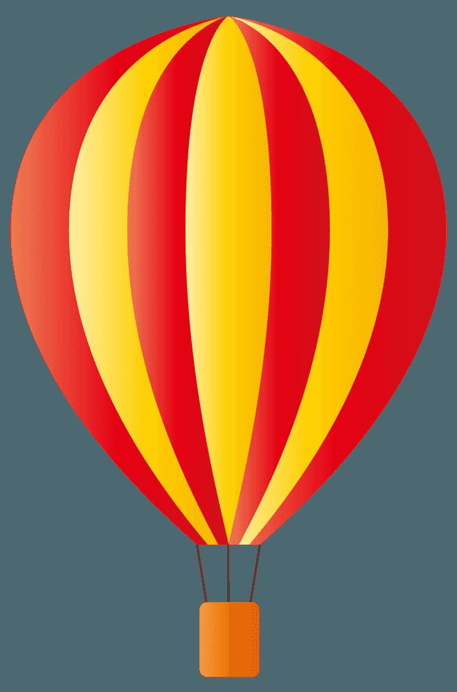 赤と黄色のストライプ気球イラスト