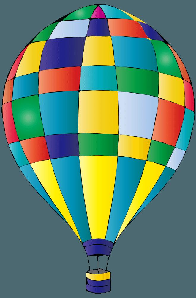手書きのカラフルブロック気球イラスト