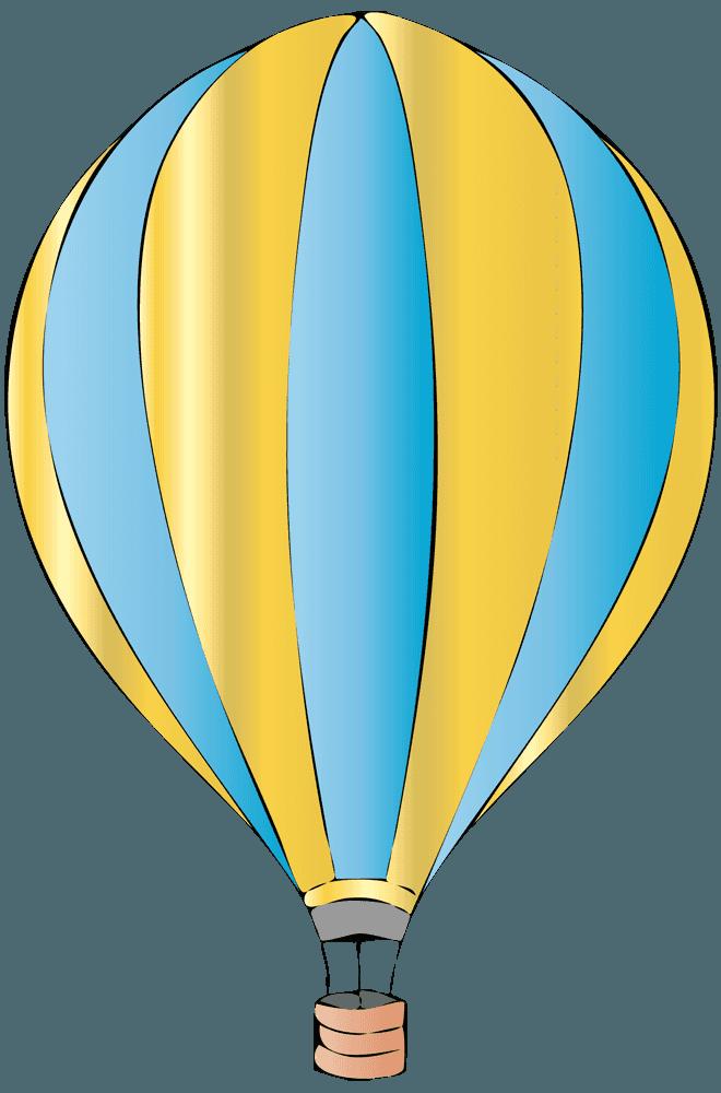 黄色と薄い水色の気球イラスト