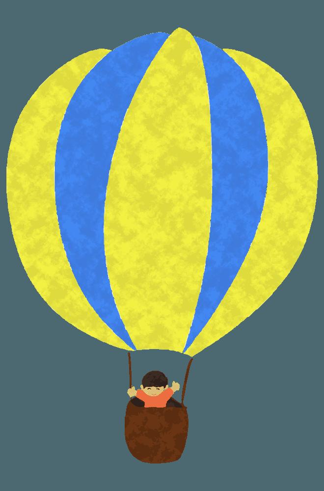 黄色と水色の人が乗っている気球イラスト