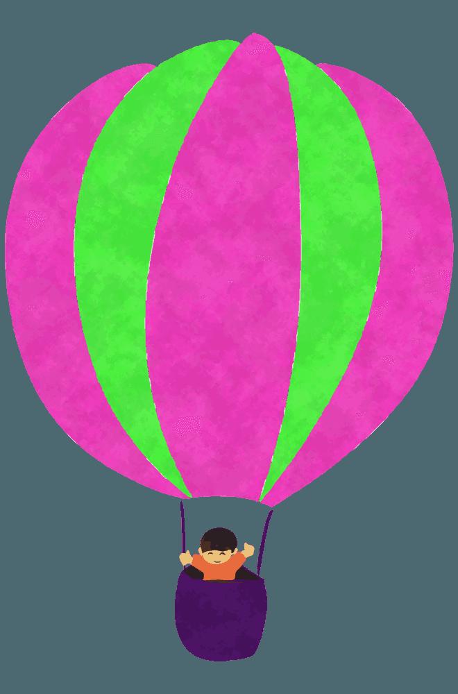 マゼンタ・黄緑の気球イラスト