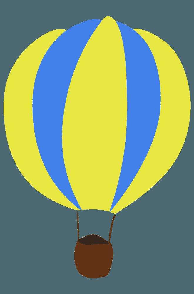 黄色と水色人なし気球イラスト