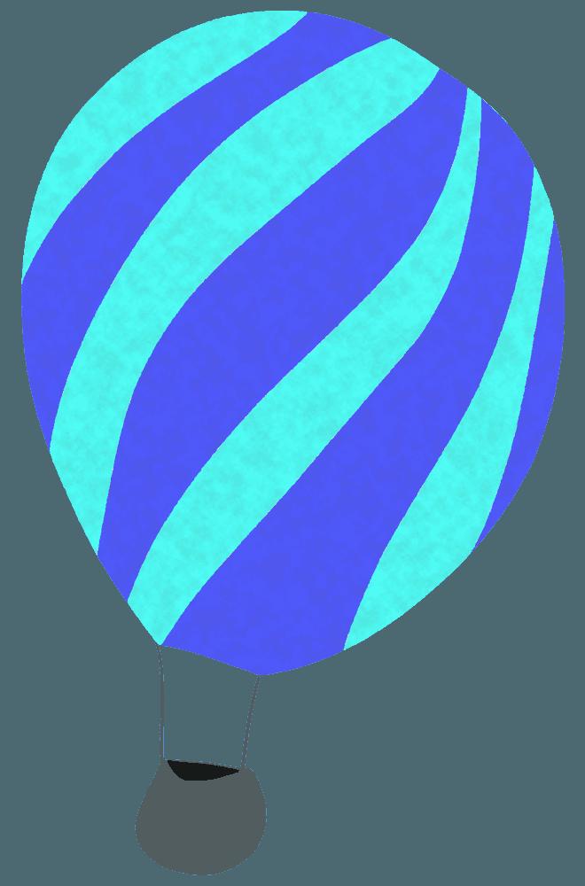 水色・紫縞模様気球イラスト