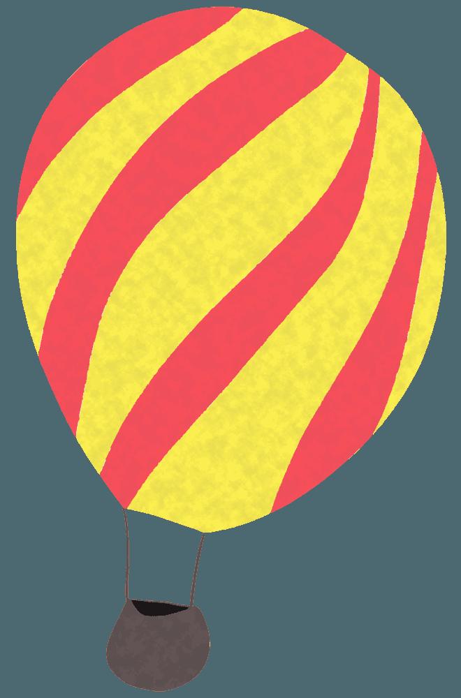 赤と黄色のシマ模様気球イラスト