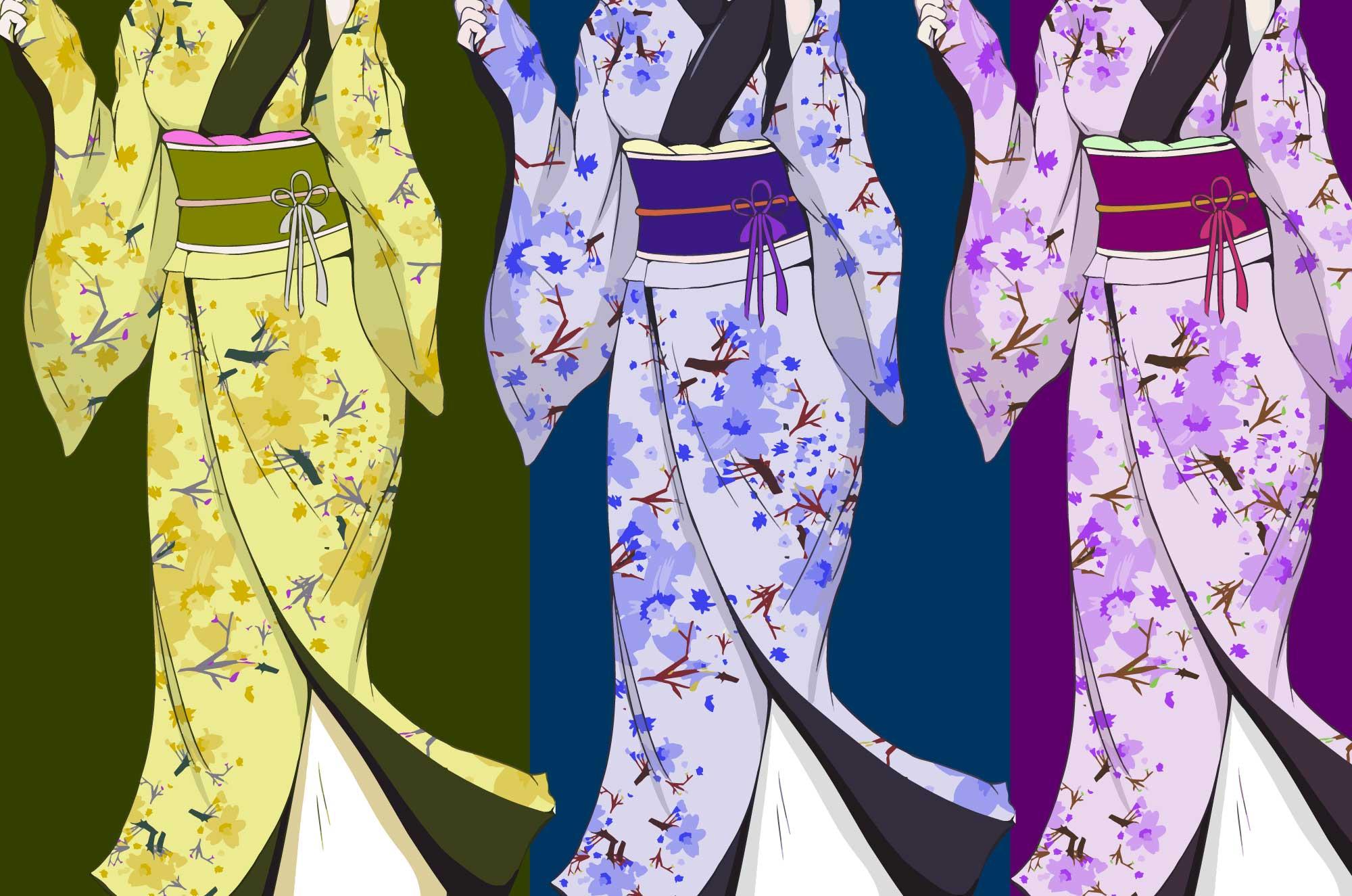 着物イラスト - カラー別可愛い女の子の和装素材