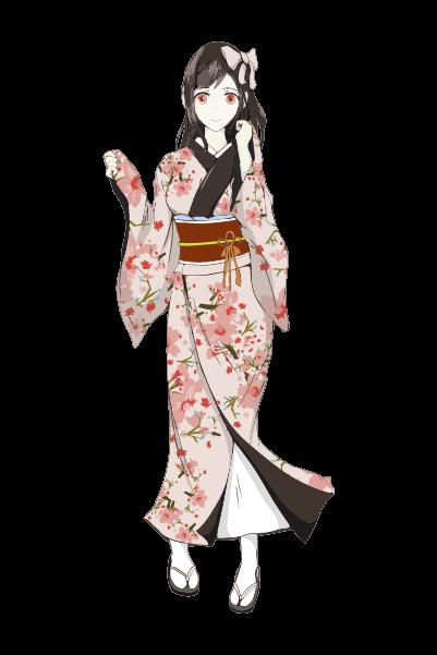 着物を着た女の子イラスト(オレンジピンク)