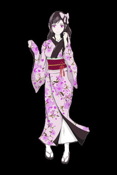 着物を着た女の子イラスト(紫)