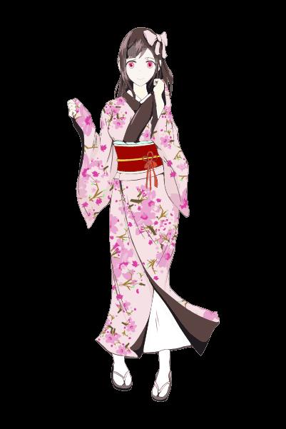 着物を着た女の子イラスト(ピンク)