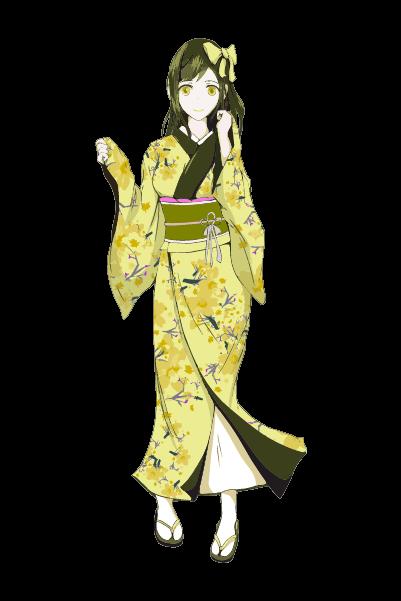 着物を着た女の子イラスト(黄色)