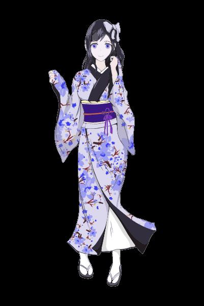着物を着た女の子イラスト(青)
