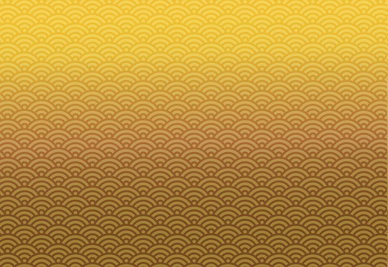 金の青海波の背景イラスト