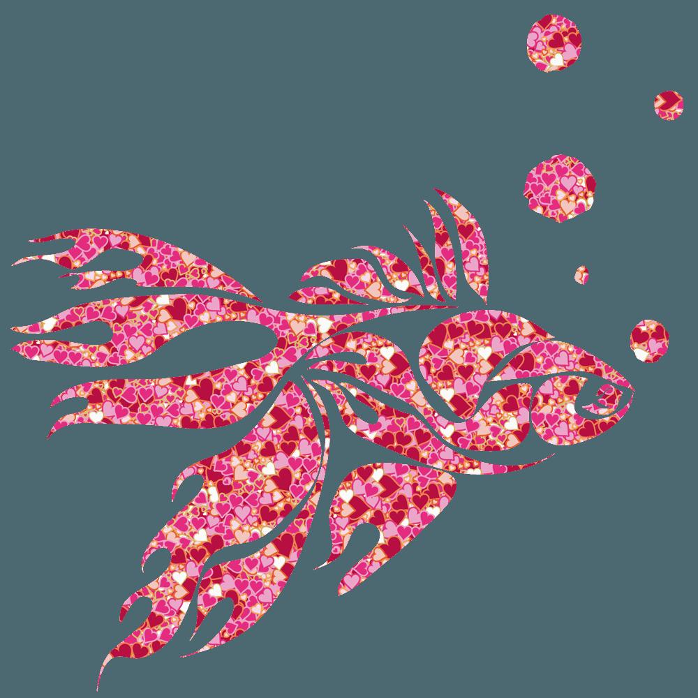 タトゥの様なハート金魚のイラスト