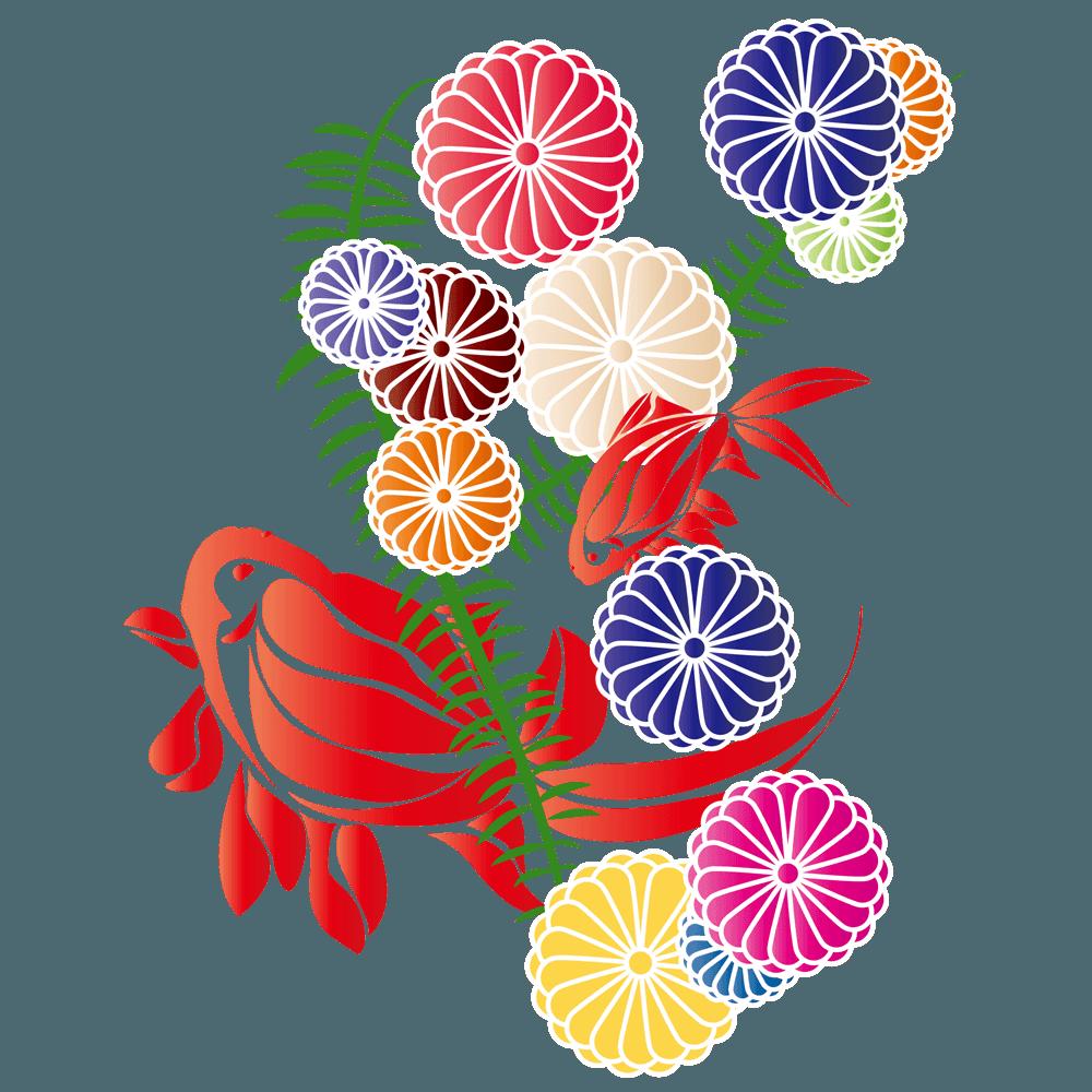 金魚と可愛い水草のイラスト