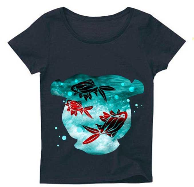 金魚鉢とアートな和柄Tシャツ