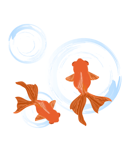 墨の水面と金魚のイラスト