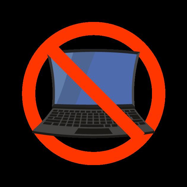 パソコン禁止マークのイラスト