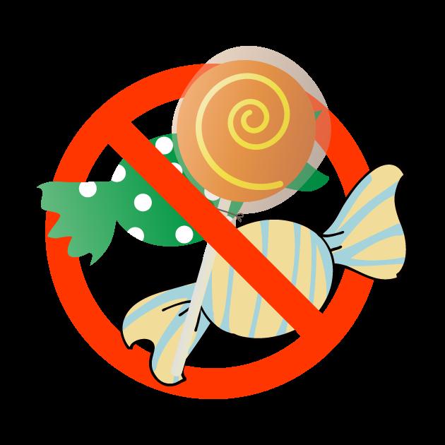 お菓子・飲食禁止マークのイラスト