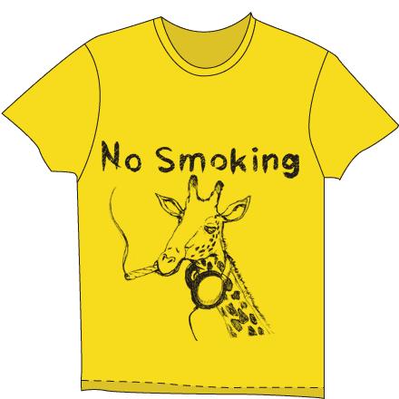 キリンの面白いラストTシャツイエロー