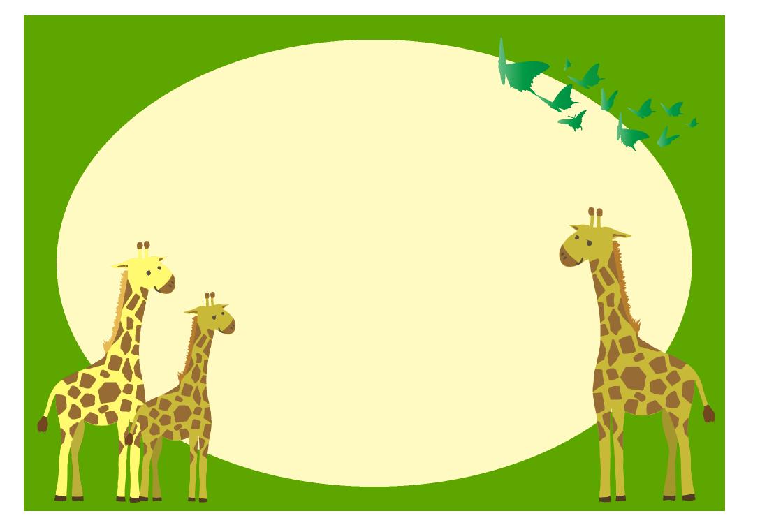可愛いキリンの四角フレーム(背景あり1088×752)