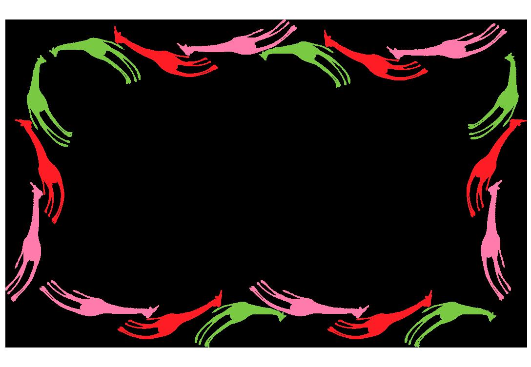 キリンのカラフルフレーム(背景なし)(背景あり1088×753)