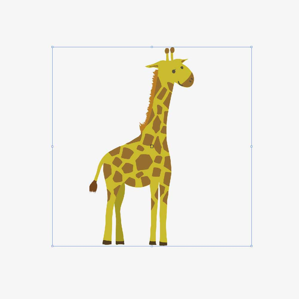 キリンのイラストをダウンロードしてイラストレーターに配置させる。