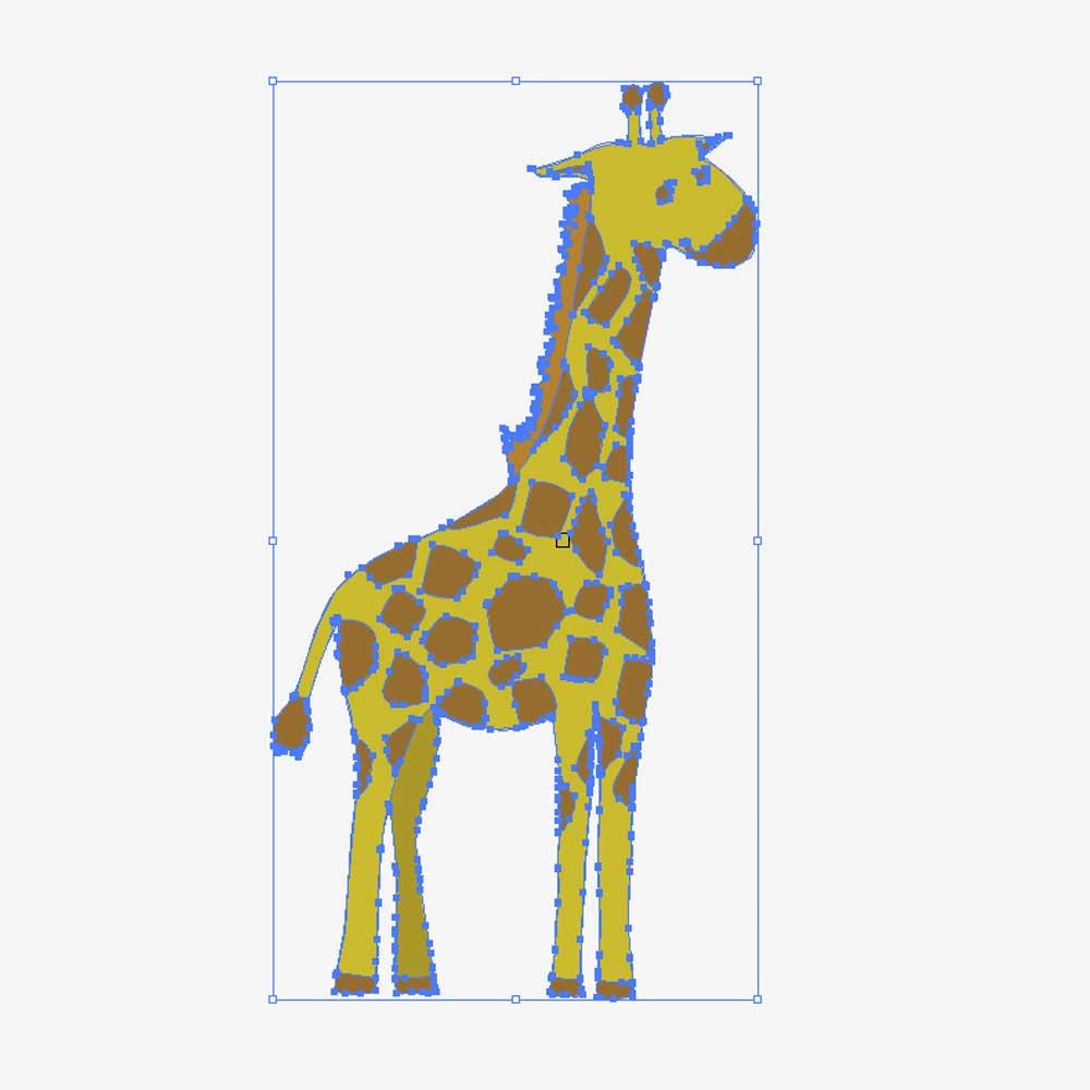 イラストレーターファイルに変換されたキリンのイラスト