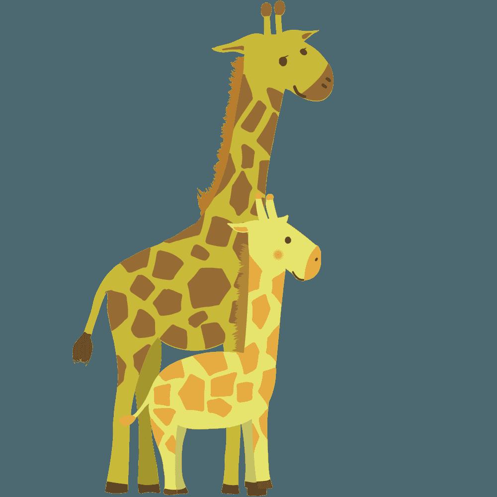 キリンの親子のイラスト