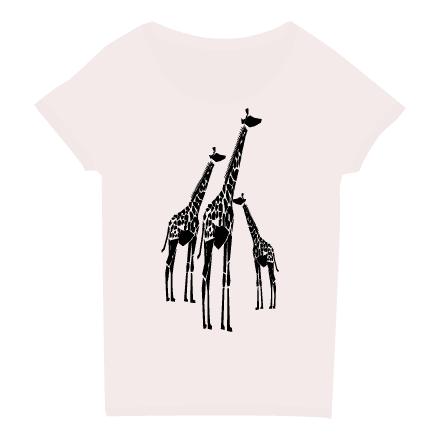 長いキリンのシルエットTシャツレディース