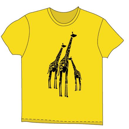 イエローボディーの長いキリンTシャツ