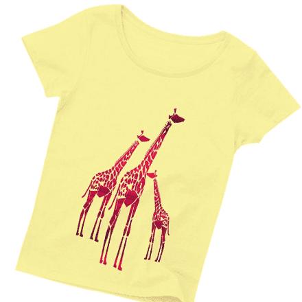 レッドレディース長いキリンTシャツ