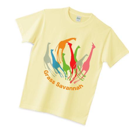 シャーベットイエローのキリン花Tシャツ
