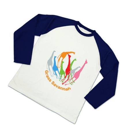 キリンの花TシャツラグランロングTシャツ