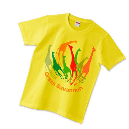 イエローボディーのキリンの花Tシャツ