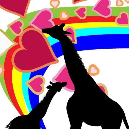 キリンLoveTシャツカラフル - 虹とシルエット