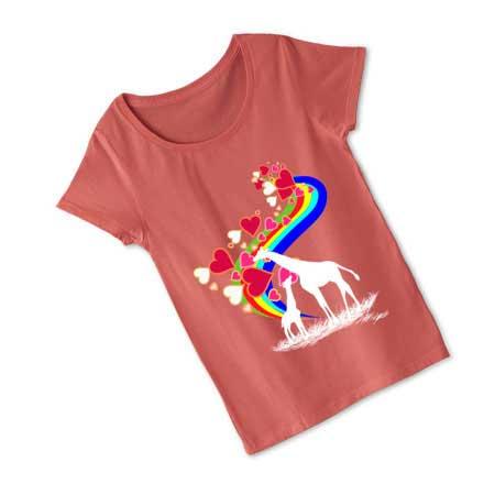 サーモンピンクの虹とキリンTシャツ