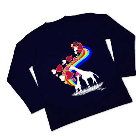 ネイビーブルーの虹とキリンLOVETシャツ